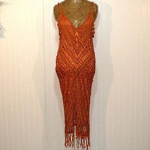 Dresses & Skirts - Medium Rust Open Crochet Boho Gypsy Dress